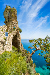 Side view of Arco Naturale, natural arch on coast of Capri island, Italy.