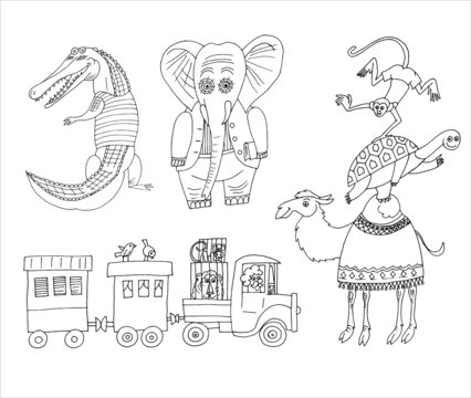 Vector hand drawn circus animals