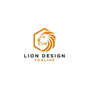Vector Logo Lion Design Hexagon Monogram Template Icon EPS 10 Logo Design - Vector