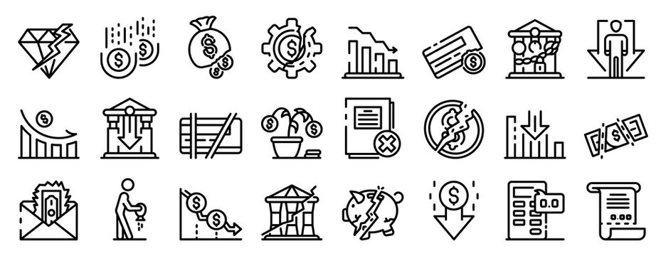 Bankrupt icons set. Outline set of bankrupt vector icons for web design isolated on white background