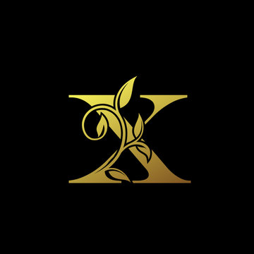 X Gold Letter Logo With Luxury Floral Design. Vintage X drawn letter mark for book design, brand name, business card, Restaurant, Boutique, Hotel.