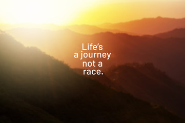Türaufkleber Positive Typography Inspirational life quotes - Life's a journey not a race.