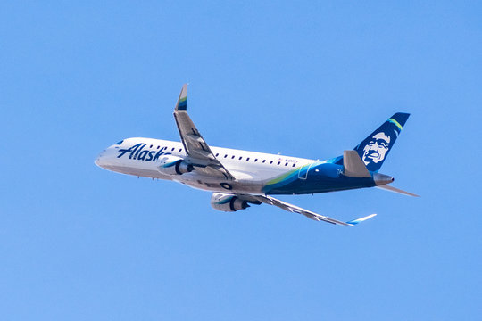January 31, 2018 San Jose / CA / USA - Alaska Airlines aircraft up in the air after taking off from Norman Y. Mineta San Jose International Airport, Silicon Valley