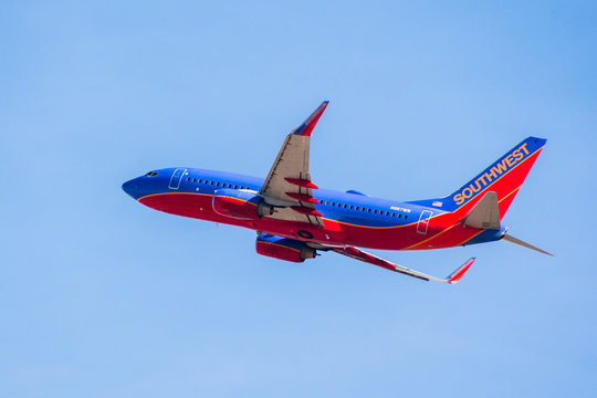 January 31, 2018 San Jose / CA / USA - Southwest Airlines aircraft up in the air after taking off from Norman Y. Mineta San Jose International Airport, Silicon Valley