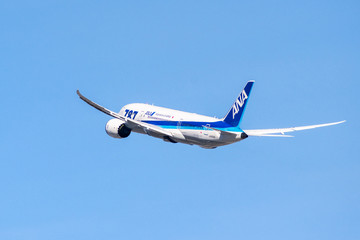 January 31, 2018 San Jose / CA / USA - ANA aircraft taking off from San Jose International Airport, Silicon Valley; All Nippon Airways Co., Ltd., also known as Zennikk? is the biggest Japanese airline
