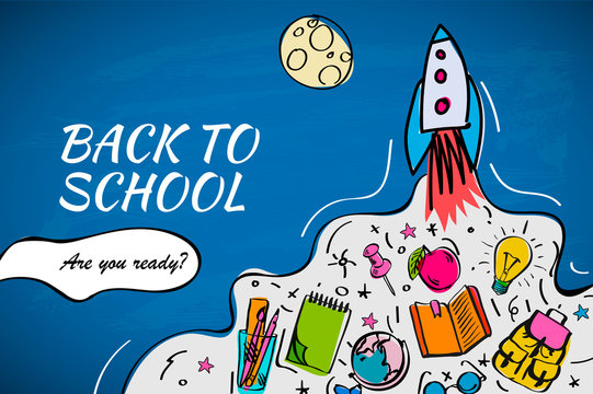 Back to school banner, poster with doodles, vector illustration.