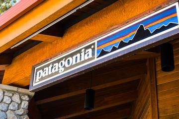 March 23, 2018 South Lake Tahoe / CA / USA - Patagonia sign above the entrance to the store located near the Gondola