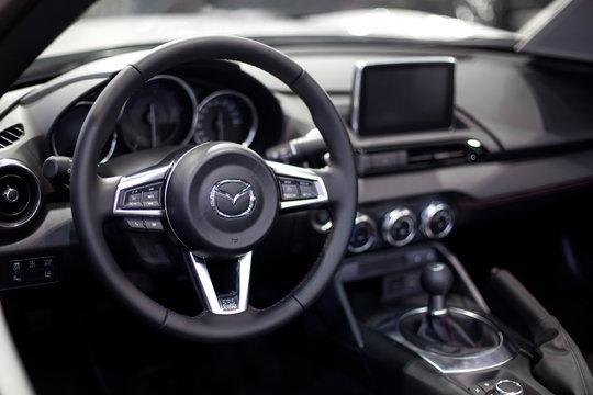 Interior of the Mazda car. Mazda was founded in 1920 in Hiroshima by Jujiro Matsuda