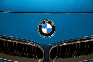 Detail of the BMW car. BMW is a German luxury vehicle, motorcycle and engine manufacturing company founded in 1916