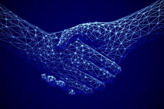 Information technology in business, digital deal or online commerce: digital handshake. Artificial intelligence or global communication. Abstract technology background. EPS 10, vector illustration.