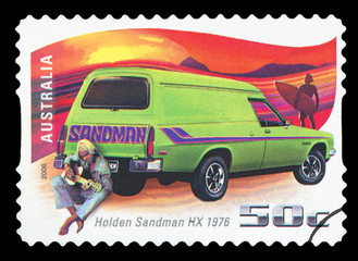 AUSTRALIA - CIRCA 2006: A stamp printed in Australia shows Holden Sandman HX - 1976 and man with guitar, circa 2006