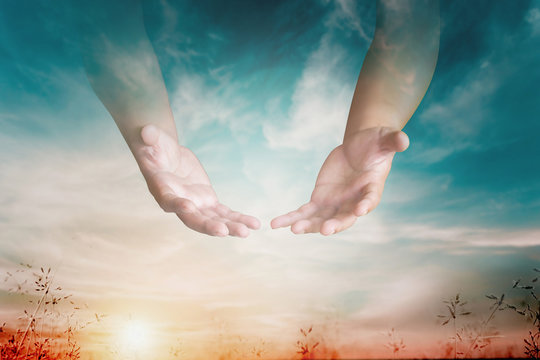The hand opened up from heaven To welcome prayer to God background Style Double exposure