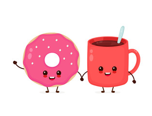 Happy cute smiling donut. Vector