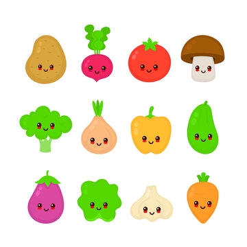 Cute happy smiling raw vegetable collection