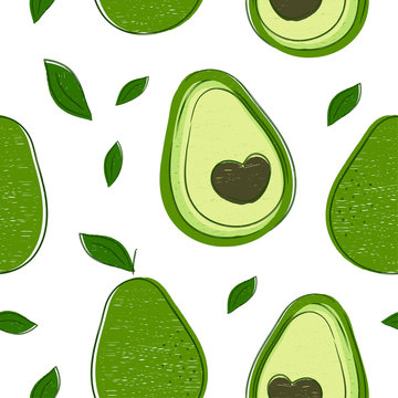 Avocado hand drawing style pattern
