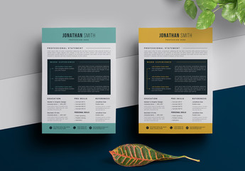 Resume Layout with Green or Yellow Accents