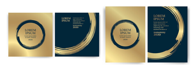Templates with blue and gold designs. Blue and gold strokes. Idea for wedding invitation, event, party, anniversary. Luxury, elegance, simple, artistic.