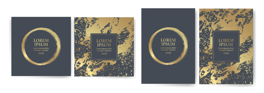Set of design templates with golden texture, marble effect. Luxury and elegance Suitable for wedding invitations, VIP events, covers, promotions.