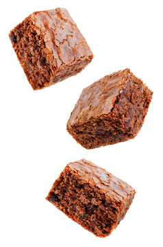 Chocolate brownie cake on a white isolated background