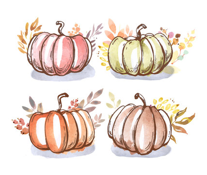 Autumn pumpkins in watercolor style