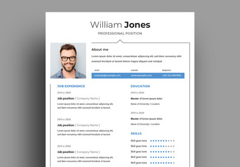Resume Layout with Blue Accents