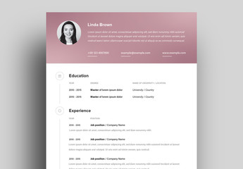 Resume Layout with Pink Gradient Header and Footer Elements
