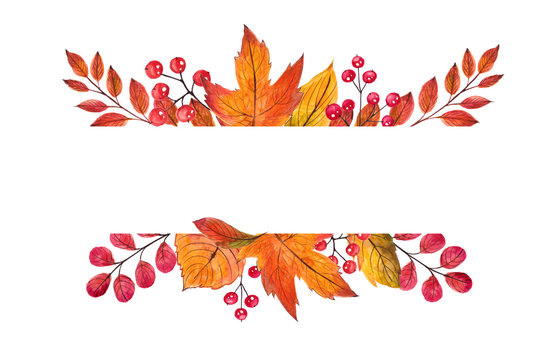 Beautiful frame autumn leaves. Watercolor handpainted illustration. Isolated on white background. Can be used in greeting card, halloween invitation, thanksgiving day, design, wallpaper, textile