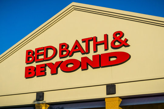 April 20, 2018 San Mateo / CA / USA - Bed Bath & Beyond logo above the entrance to one of the stores in San Francisco bay area