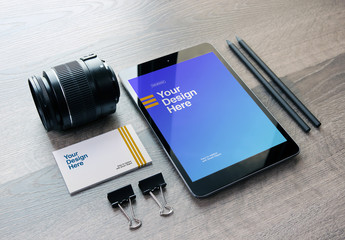 Camera Lens, Tablet, and Business Card Perspective Mockup