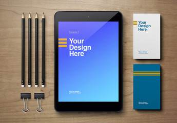 Tablet, Business Card, and Pencils Mockup