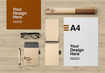Glasses, Cardboard Tube, and Stationery Set Mockup