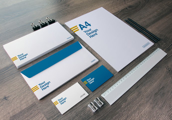 Full Stationery Mockup with Ruler, Pencils, and Sharpeners