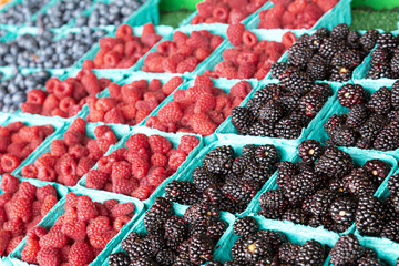 Black Red and Blue Berries in a Fruit Market