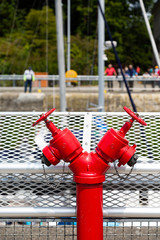Red Fire Valves in an Industrial area