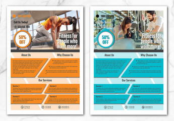 Flyer Layout with Blue and Orange Geometric Shapes