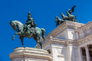 Detail of the statues of The Vittorio Emanuele II Monument also called Altare della Patria a monument built in honor of Victor Emmanuel II the first king of a unified Italy