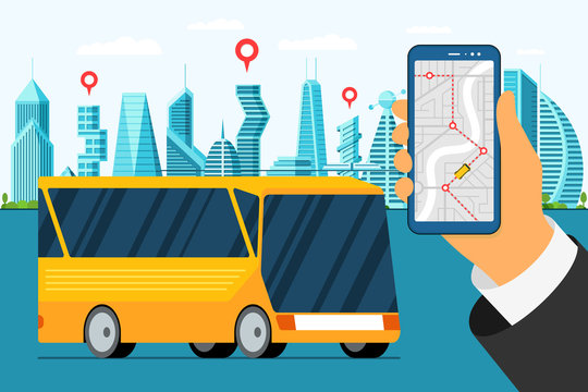 City bus tour banner design template. Urban vehicle with map application on smartphone screen. Puplic transport countryside traffic route. Vector travel illustration