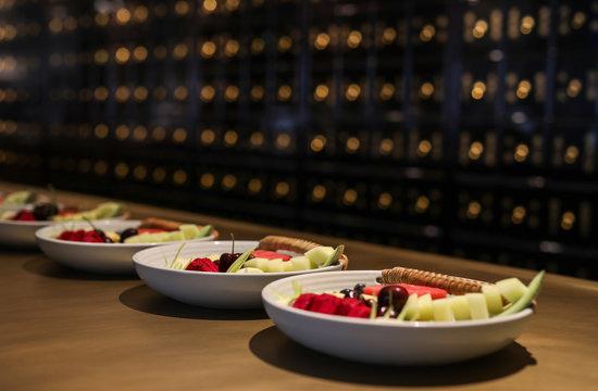 Fresh fruit served on table.