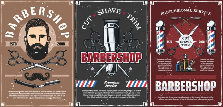 Beard shave men hairdresser, haircut barber shop