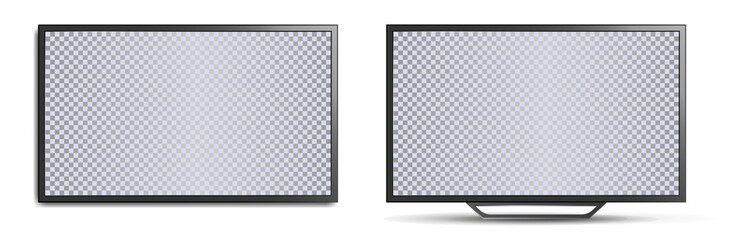 TV mockup with blank screen. Two realistic 3D TVs, wall-mounted and with legs for horizontal surfaces. Modern stylish lcd panel, led type. Large computer monitor display mockup. Vector lcd set