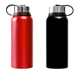 Blue and black thermos