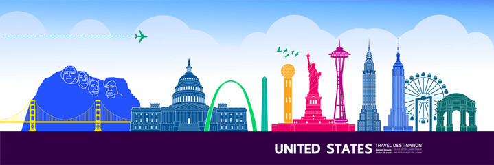 Fototapete - United states travel destination grand vector illustration.