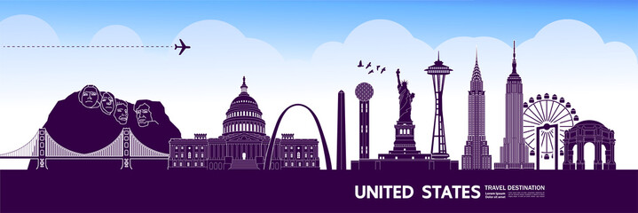 Fotomurales - United states travel destination grand vector illustration.