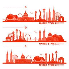 Wall Mural - United states travel destination grand vector illustration.
