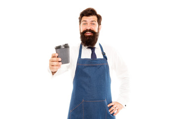 Mature barista in apron isolated on white. Robusta arabica blend. Barista prepared coffee for you. Enjoying fresh coffee. Inspired with cup of fresh coffee. Bearded man hold paper coffee cup