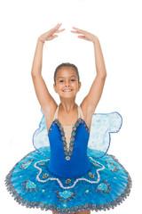 Small ballerina. Talented ballet dancer. Kid dress ballet skirt white background isolated. Child practice dancing. Girl dancer gorgeous fancy leotard. Ballet class. School club. Sport and health care