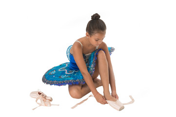 Ballet class. School club. Sport and health care. Small ballerina. Talented ballet dancer. Kid dress ballet skirt white background isolated. Child practice dancing. Girl dancer gorgeous fancy leotard