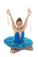Talented ballet dancer. Kid dress ballet skirt white background isolated. Child practice dancing. Girl dancer gorgeous fancy leotard. Ballet class. School club. Sport and health care. Small ballerina