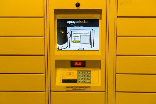 November 15, 2018 Santa Clara / CA / USA - Amazon locker located inside a store in San Francisco bay area