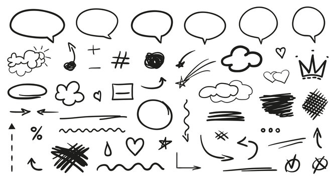 Hand drawn infographic elements on isolation background. Set of think and talk speech bubbles. Hatching doodles on white. Black and white illustration